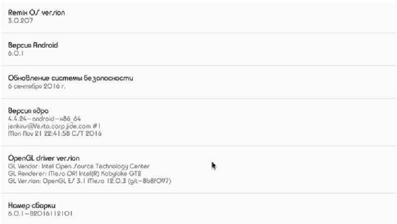Информация о системе Remix OS на ПК
